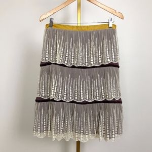 Anthropologie Odille Skirt w/ tiered lace detail